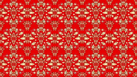 Motion footage composition. Pattern with golden vintage doodles and flowers on red background. Loop.
