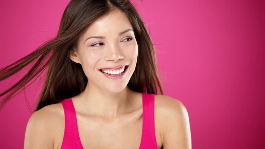 Asian Beauty Girl Smiling Close-up With Rose Background, Beautiful ...