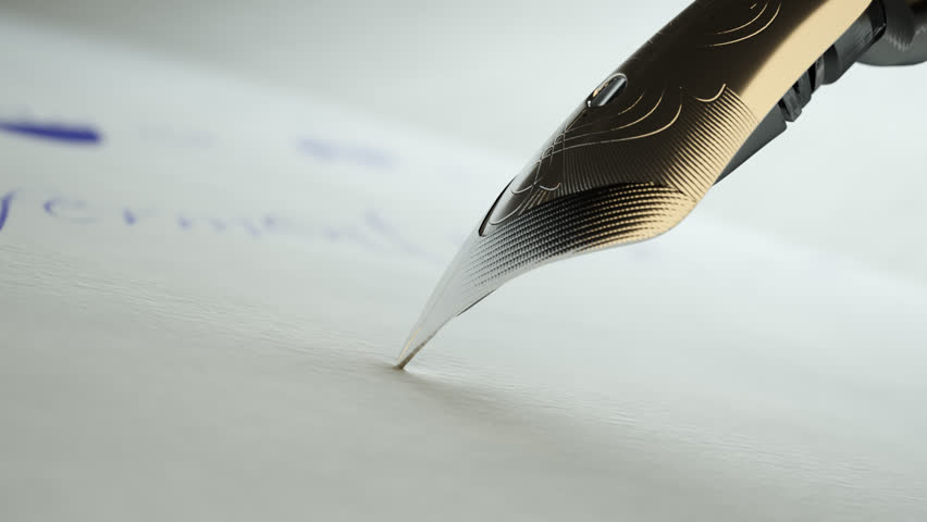 02601 Detail Of Writing Text On White Paper With Fountain Pen Nib | Shutterstock HD Video #21124699