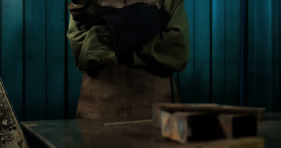 Portrait of Caucasian female welder standing with arm crossed in workshop 4k   Shutterstock HD Video #21129229