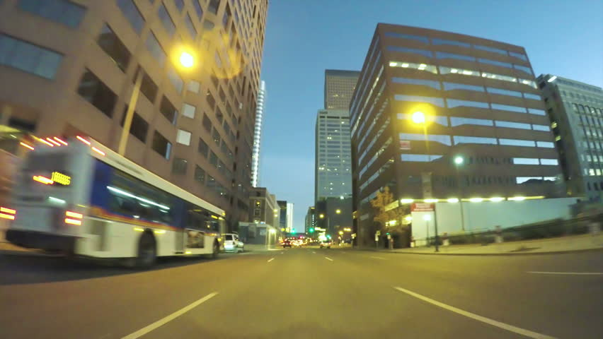 Denver, Colorado, USA-October 22, 2016. POV point of view - Driving through downtown Denver at night. | Shutterstock HD Video #21160699