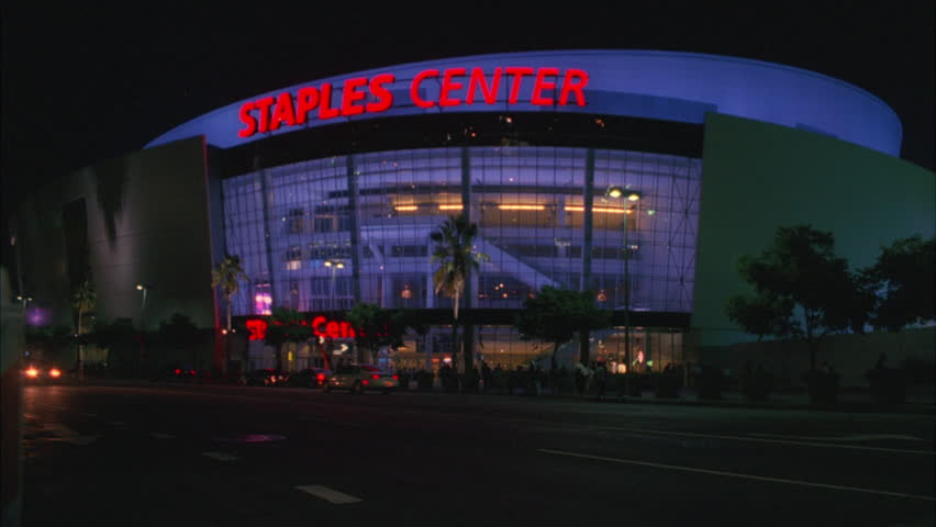 night Staples Center arena, Los Angeles Lakers, people activity, raked right font color red *Requires Clearance font