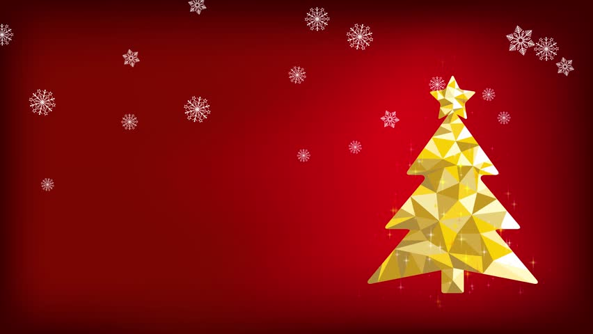 Golden lowpoly christmas tree animation with falling snowflakes.
