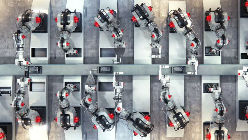 Robotics work in production line of 3d printer parts at factory