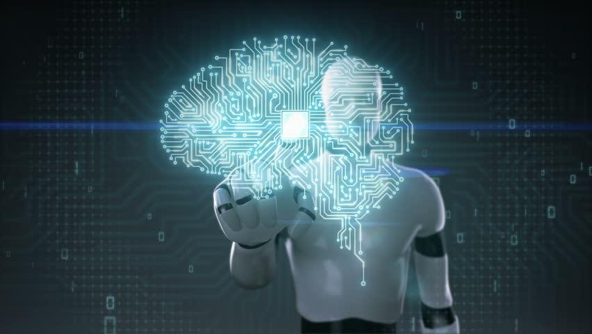 Robot cyborg touching brain connected CPU chip circuit board, grow artificial intelligence | Shutterstock HD Video #21200596