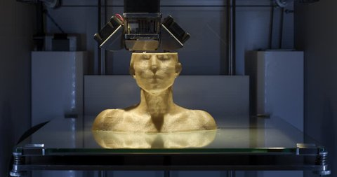 Working 3D printer, printing a human bust. 4K Time Lapse Video