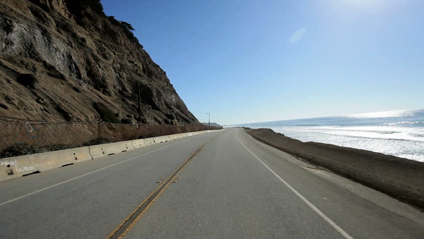 Point of view of driving along the coastal highway