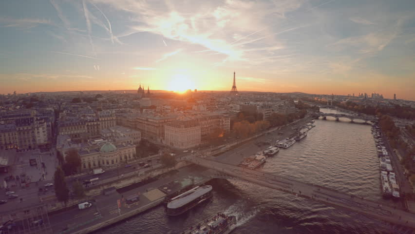 Aerial view of Paris during sunset | Shutterstock HD Video #21290809