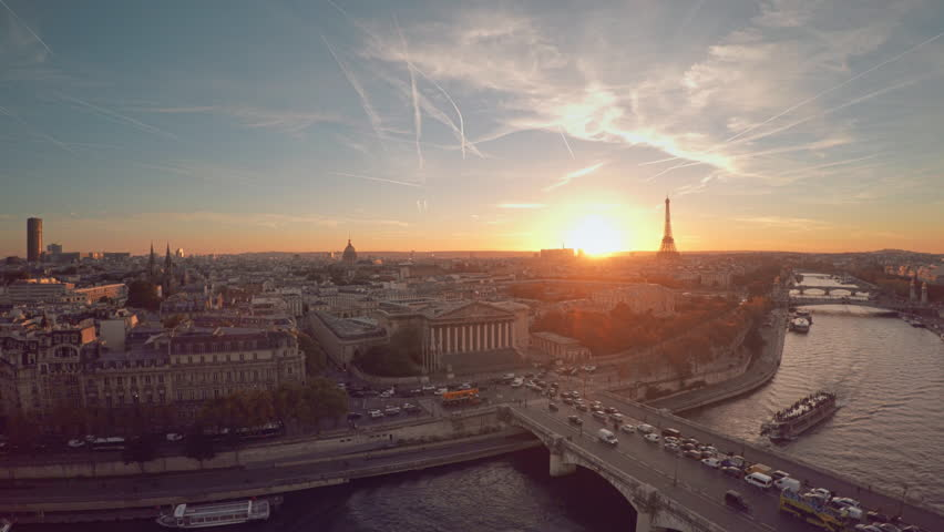 Aerial view of Paris during sunset | Shutterstock HD Video #21290983