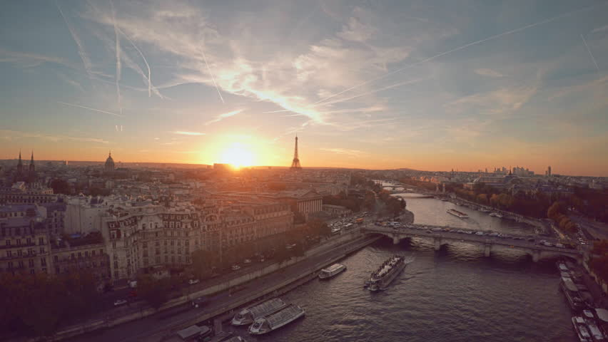 Aerial view of Paris during sunset | Shutterstock HD Video #21290989