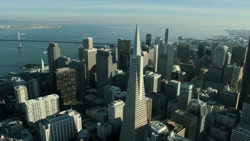 Aerial view of the Transamerica Pyramid building and city of San Francisco, California, North America, USA