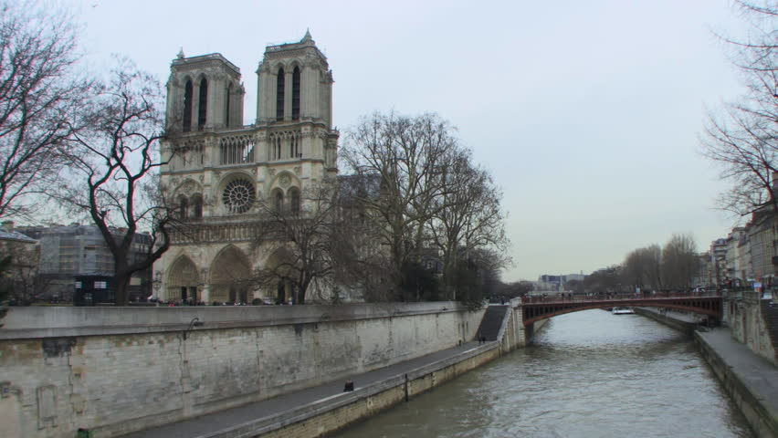 Wide shot Time lapse of Notre Dame, Paris, France