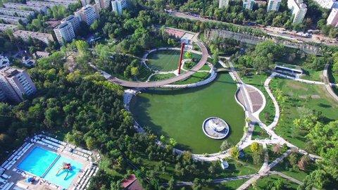 Aerial view above Moghioros park, Bucharest, Romania