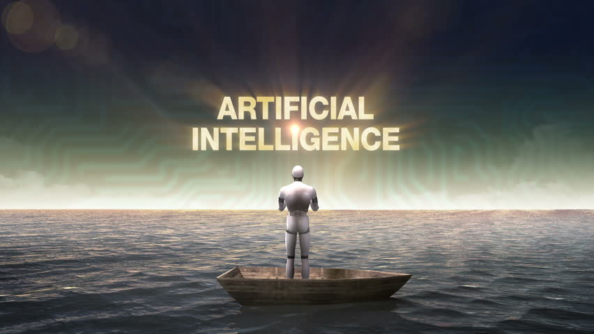 Rising typo 'ARTIFICIAL INTELLIGENCE', front of Robot, cyborg on a ship, in the ocean, sea.