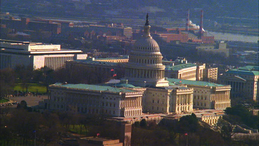 Day Aerial over Capitol Building during fall Winter Washington DC