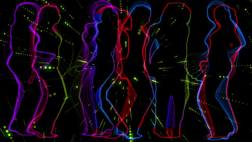 A group of dancing girls outlined silhouettes colored neon style with star trails background.