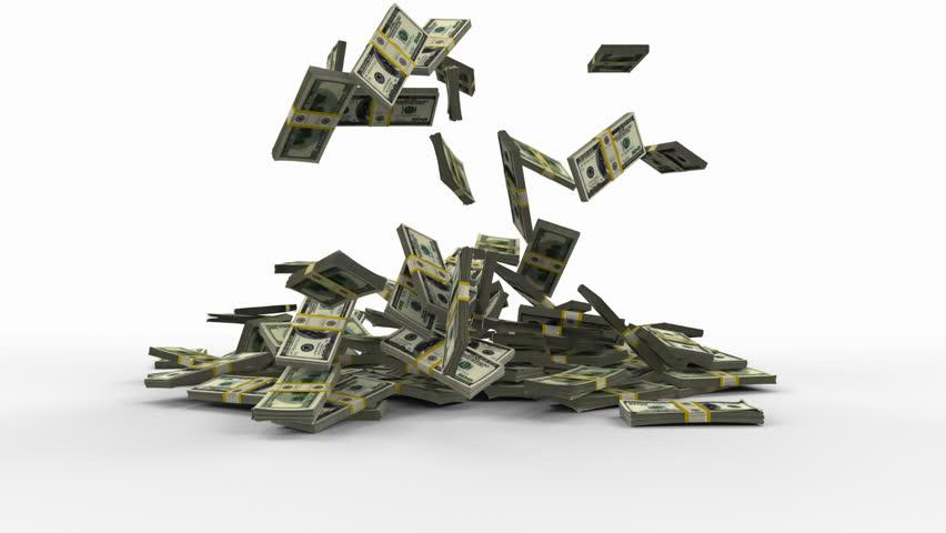 3D animation,render. One hundred dollar money packs.falling on floor, isolated on white.whith alfa