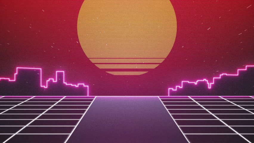 Retro Futuristic.Flight over the grid and sunset. 80s Retro Sci-fi.