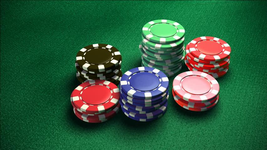 Casino chips on casino blackjack dealer