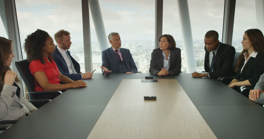 4K Large business team arguing about a business failure in boardroom meeting