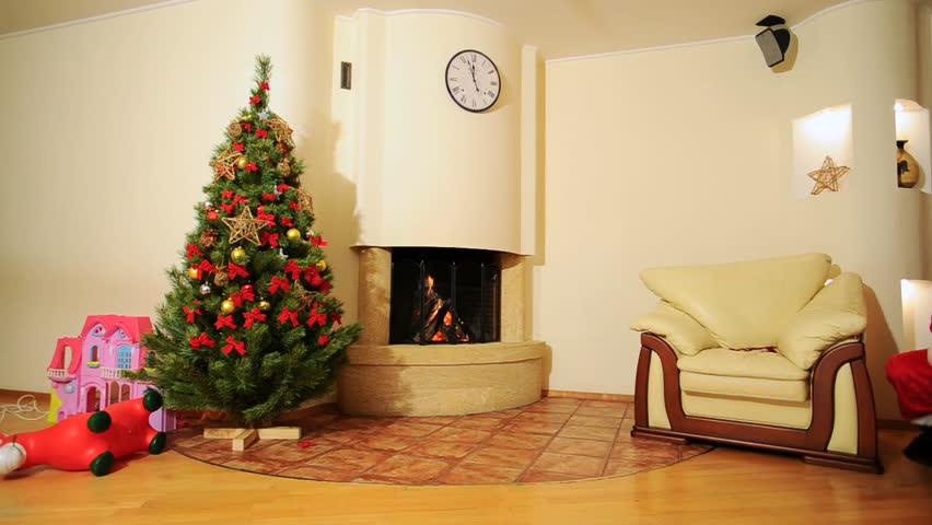 Good New Year Spirit Christmas Tree Fireplace