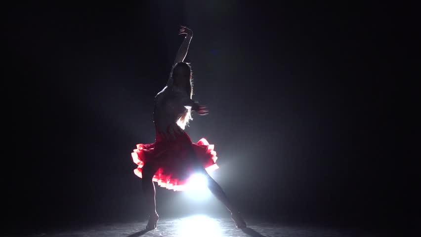 Girl dancing cha-cha-cha. Slow motion