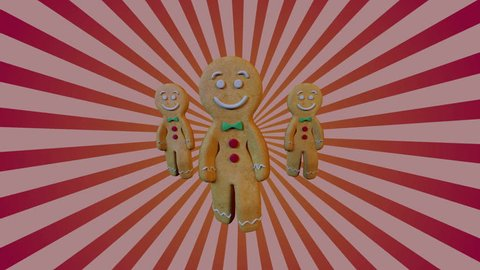 Christmas Gingerbread man Dancers - gangnam style. 3D animation of funny, hot and sweet cookie boy dancing for holiday and kid event, show, VJ, party, music, website, banner, dvd