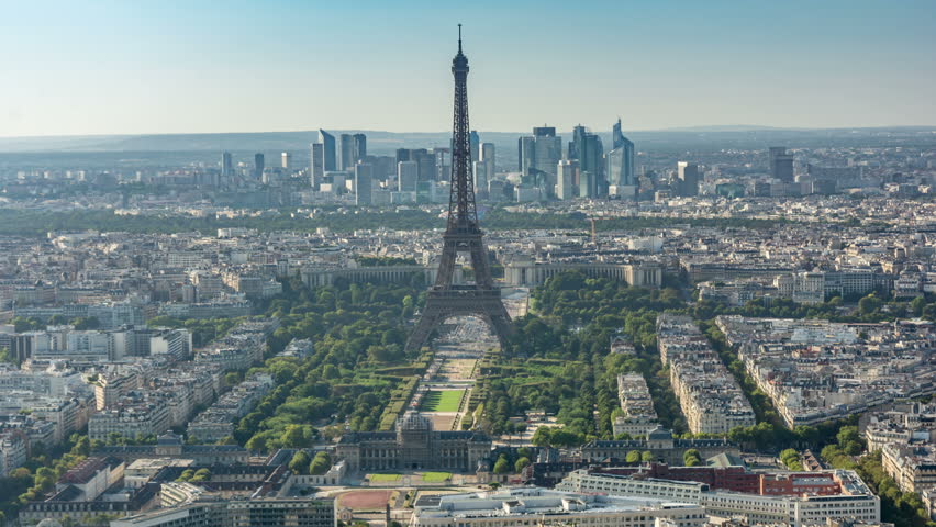 Paris. City panorama with Eiffel tower. La Defense, modern, business district is visible in the background | Shutterstock HD Video #21472249