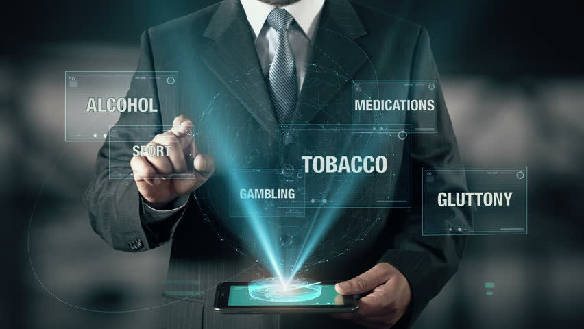 Businessman with Healthy Life concept choose Sport from Tobacco Gluttony Alcohol Medications Gambling using digital tablet | Shutterstock HD Video #21477049