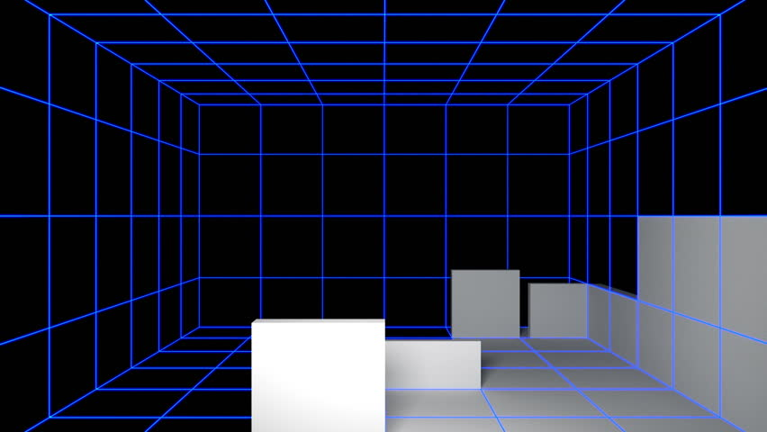 back plate of self constructing animation from virtual mesh to clean white empty room interior + alpha channel