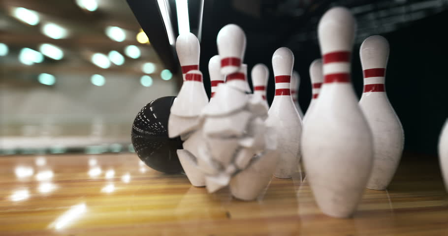 Bowling ball hits the pins and explodes them in super slow motion | Shutterstock HD Video #21507100