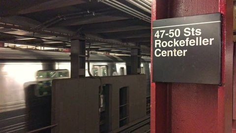 NEW YORK CITY - OCTOBER 2015: Rockefeller Center Subway Train Station. New York attracts 50 million tourists annually.