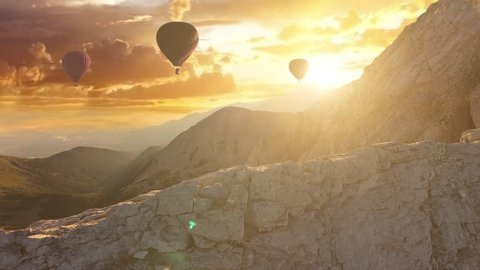Beautiful Hot Air Balloons at Sunset Freedom to Travel Vacation Exploration Aerial Drone Flight Over Mountains Landscape Background