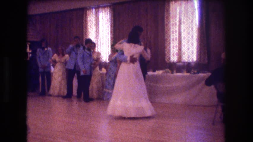 Boston 1974 Newly Wed And Their Wedding Party Dancing At A Reception