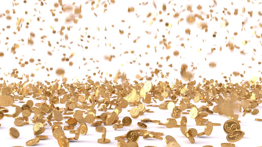 Rain from the golden coins. HQ animation with alpha channel.
