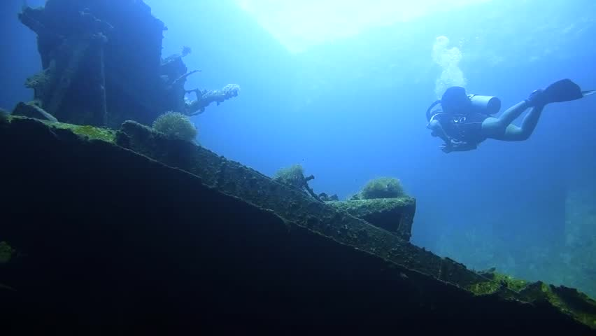 Divers visiting the wreck Giannis D, Red Sea, Sharm el Sheikh, Egypt, Sinai | Shutterstock HD Video #21649789