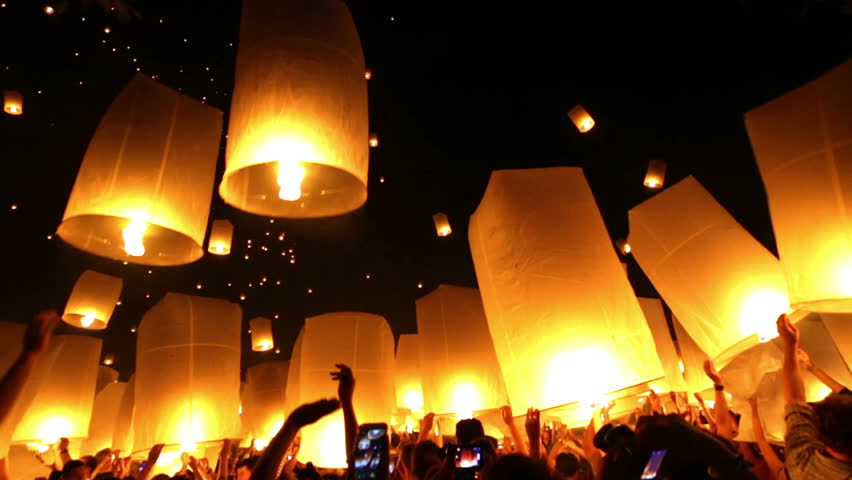 Thousands flying lanterns in the sky of Chiang mai, Thailand