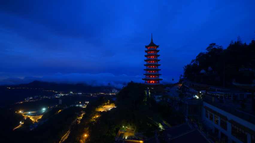 Time lapse at Chin Swee Caves Temple at sunrise | Shutterstock HD Video #21676654