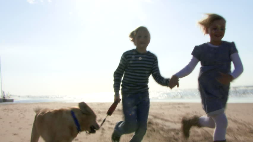 WIDE SHOT, Handheld, Children running hand in hand on beach with dog
