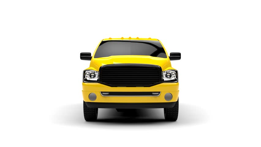Yellow commercial vehicle delivery truck with a double cab and a van. Machine without insignia with a clean empty body to accommodate your logos and labels. 3d rendering.