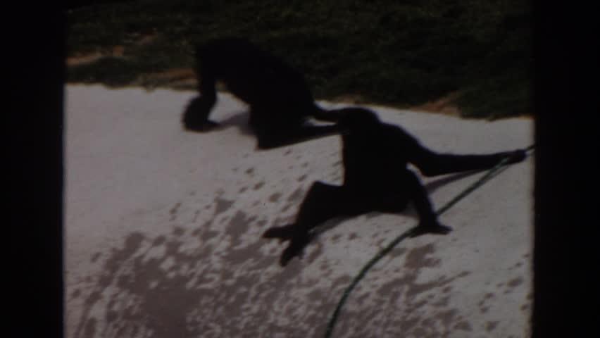 IRVINE CALIFORNIA 1974: monkeys playing outside. | Shutterstock HD Video #21716914
