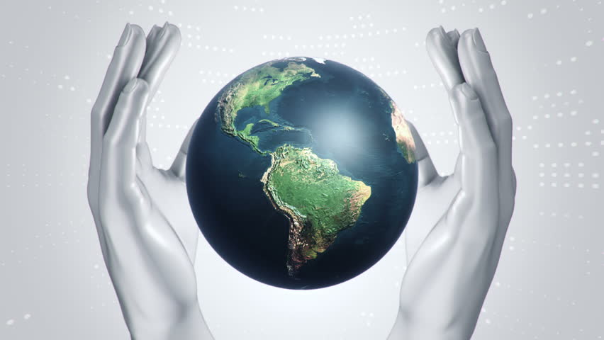 Abstract background with animation of rotation Earth Globe in abstract hands of human. Animation of seamless loop. | Shutterstock HD Video #21745879