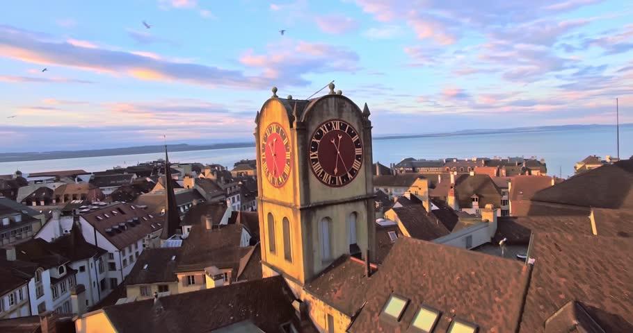 aerial view of Vintage Bell-Tower in Neuchatel, Switzerland