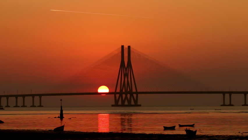 Time Lapse Footage Of Sunset At Bandra Worli Sea Link Also -6803
