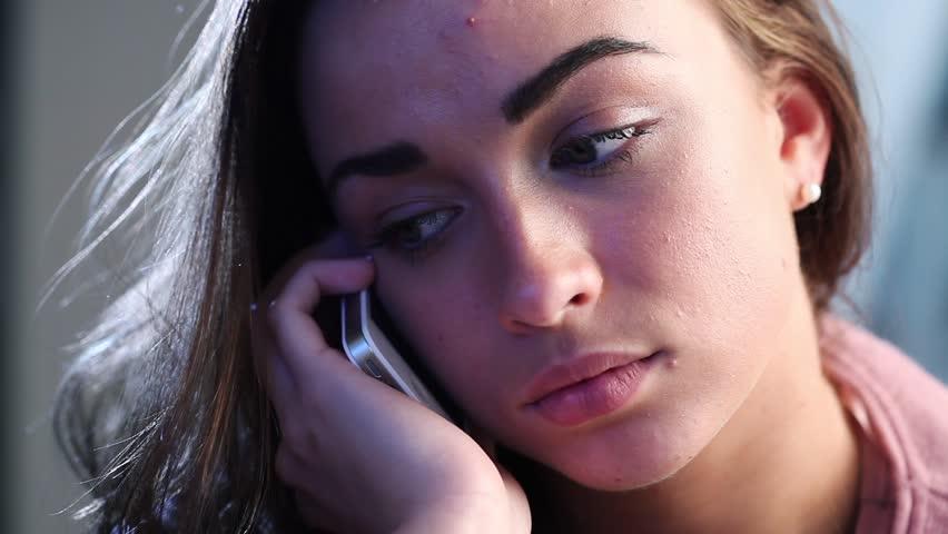 Stock video of depressed teenage girl gets bad news ...