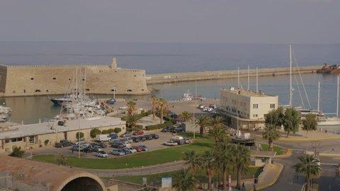 View of Heraklion Port, Crete, Greece with the Rocca al Mare Venetian fortress