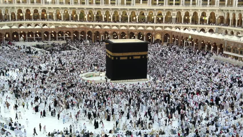 Muslim pilgrims circumambulate the Kaaba (Kaabah) at Masjid al Haram Mosque February 24, 2012 in Mecca, Kingdom of Saudi Arabia. Muslims all around face the Kaaba during prayer time.