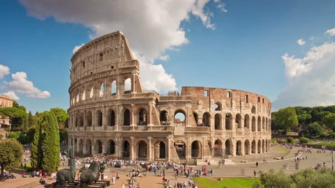 summer day sunny sky most famous rome colosseum panorama 4k time lapse italy