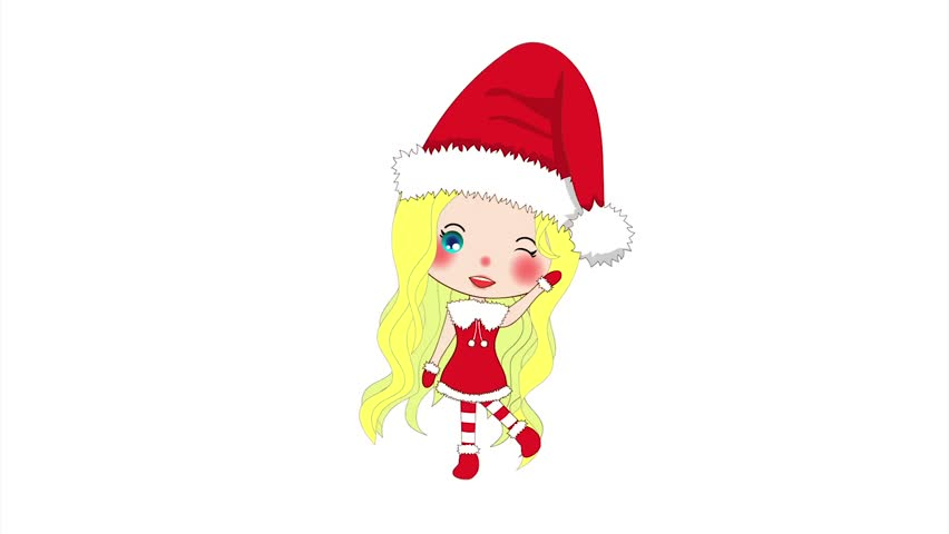 Merry christmas with cute santa girl greeting pompom hat and outfit merry christmas with cute santa girl greeting pompom hat and outfit santa claus costume on a white screen beautiful young woman animated female stock m4hsunfo Images