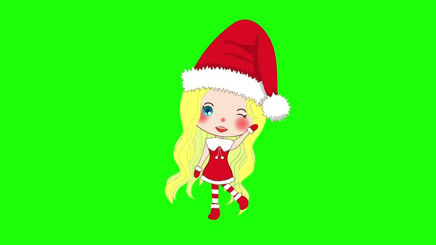 Merry christmas with cute santa girl greeting pompom hat and outfit merry christmas with cute santa girl greeting pompom hat and outfit santa claus costume on a green screen beautiful young woman animated female stock m4hsunfo Images